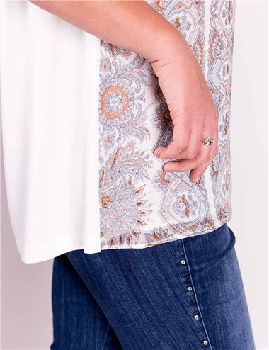 Elena Mirò - T-shirt con stampa in georgette