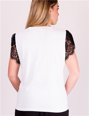Elena Mirò - T-shirt leisure chic con scritta ricamata bianco