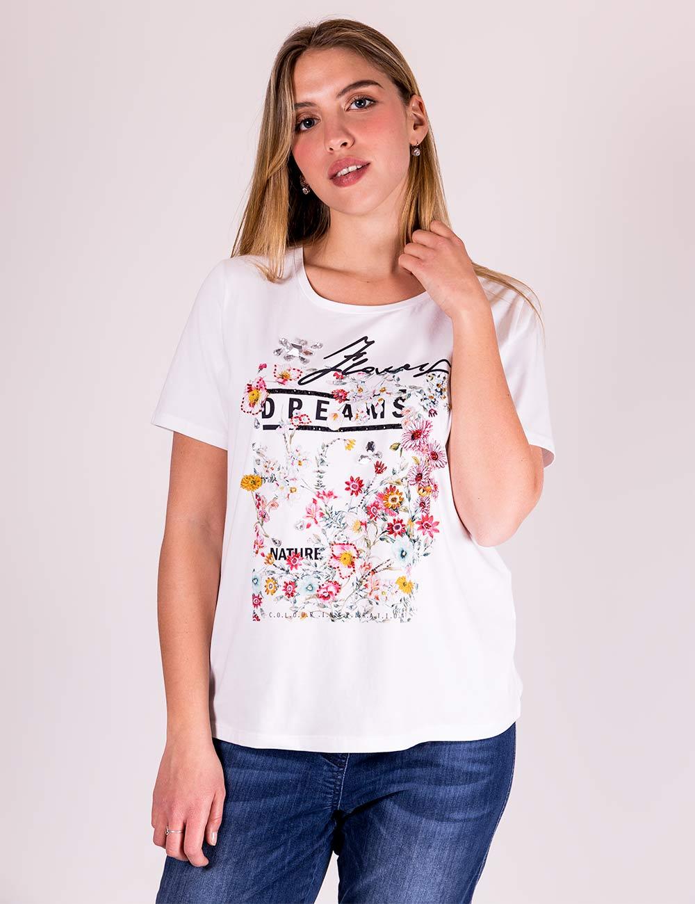 Elena Mirò - T-shirt con stampa e ricamo