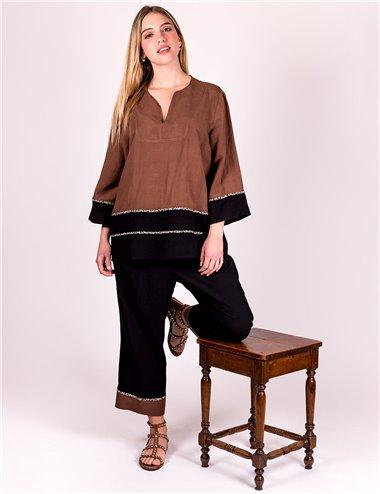 Mirella Matteini - Completo casacca e pantaloni lino e viscosa