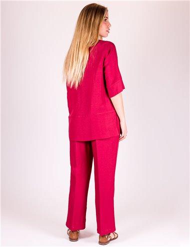 Mirella Matteini - Completo casacca e pantaloni rosso india