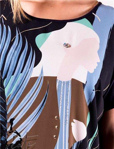 Giglio Rosso - T-shirt girocollo mezza manica blu