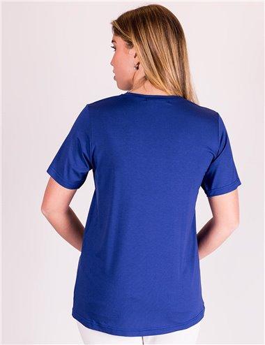 Gaia Life - Tshirt girocollo con stelle di strass blu cina