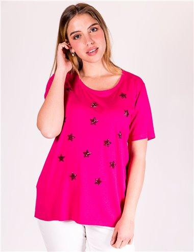 Gaia Life - Tshirt girocollo con stelle di strass fucsia