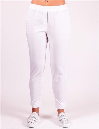 Gaia Life - Pantaloni cotone con elastico in vita bianco