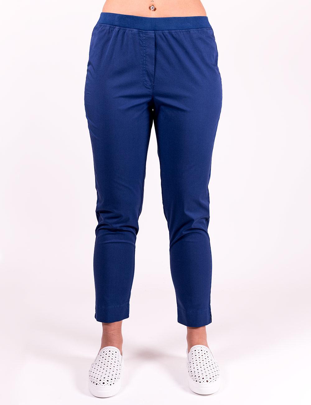 Gaia Life - Pantaloni cotone con elastico in vita blu cina