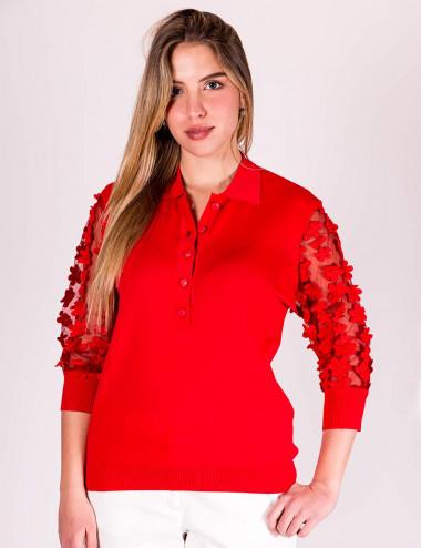 Z.o.e. - Polo in maglia rossa