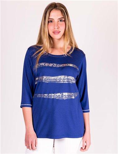 Gaia Life - Tshirt girocollo con strass e stampa argento