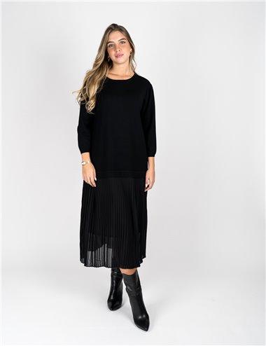 Elena Mirò - Abito in maglia con plissè grigio