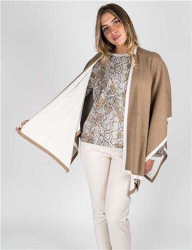 Elena Mirò - Mantella in maglia bicolore beige