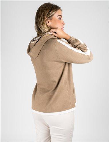 Elena Mirò - Cardigan con cappuccio jogging beige