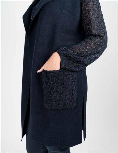Elena Mirò - Gilet in maglia con tasconi blu