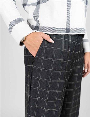 Elena Mirò - Pantaloni cropped in tessuto check grigio