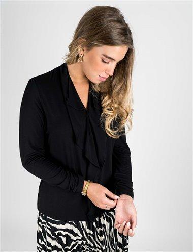 Elena Mirò - T-shirt in jersey e georgette nero