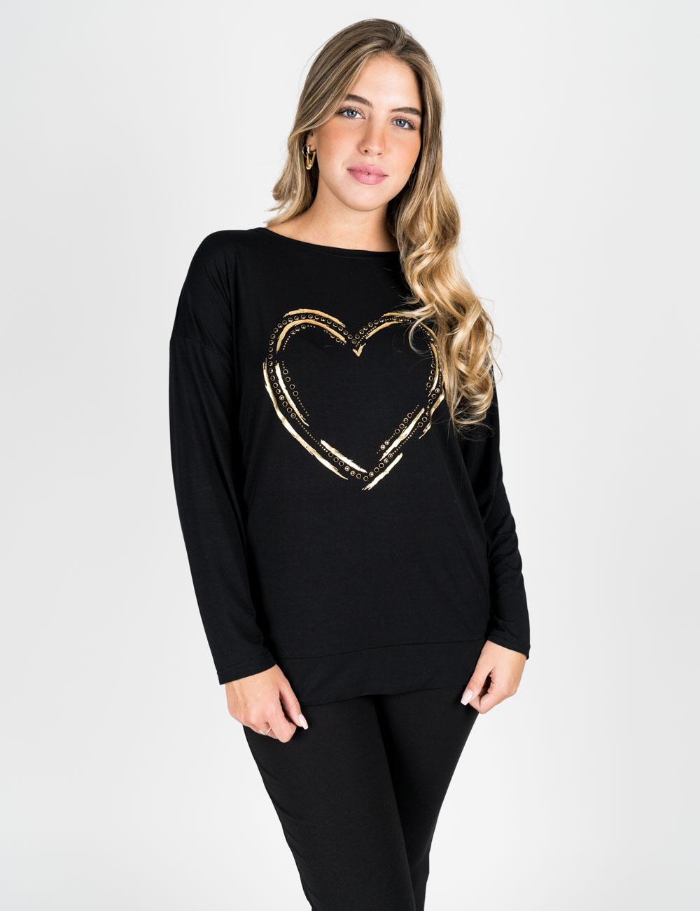 Gaia Life - T-shirt con stampa oro nero